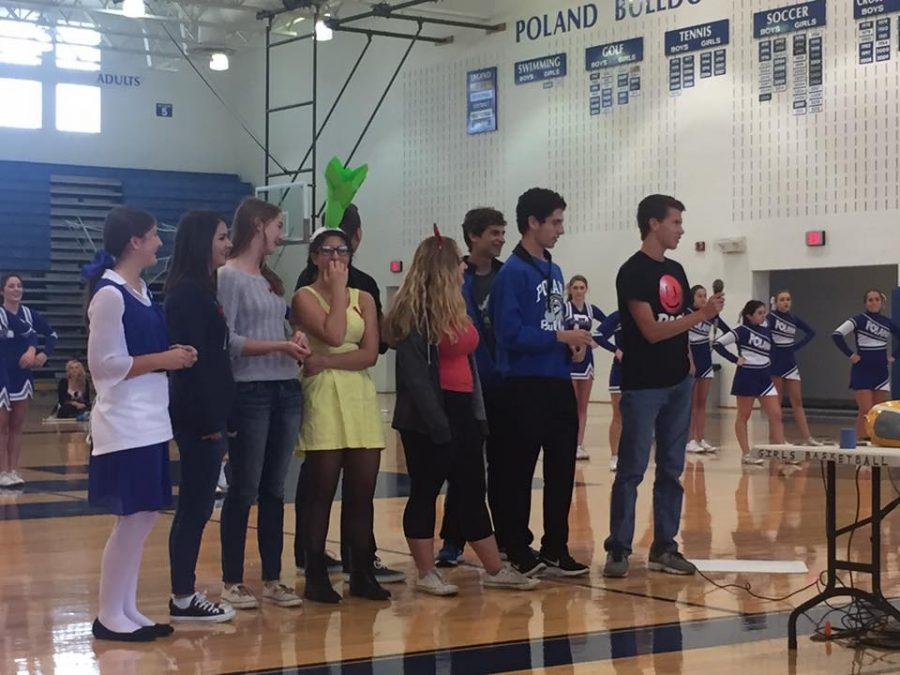 Seniors+from+the+cross+country+team+during+the+pep+assembly+today%2C+October+28