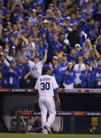 Kansas City Royals pitcher Yordano Ventura walks off the field after being relieved by Kelvin Herrera during the sixth inning of Game 2 of baseball's World Series against the San Francisco Giants Wednesday, Oct. 22, 2014, in Kansas City, Mo. (AP Photo/Charlie Neibergall)