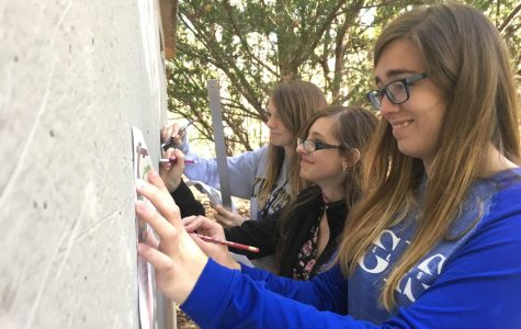 Poland Art Club Officers Paint a Mural in Poland Woods
