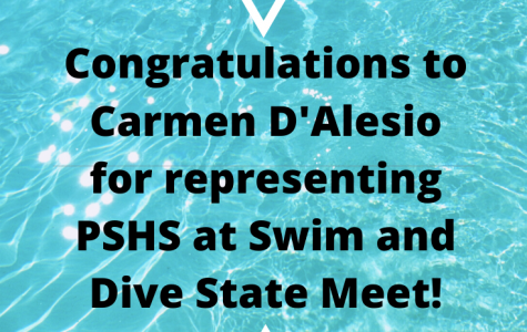 Congratulations to Carmen D'Alesio for attending Swim and Dive State!